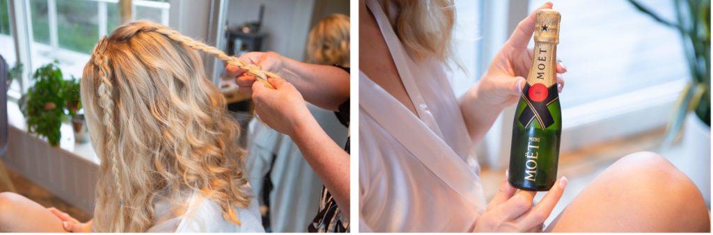 Detaljebilder av hår og en champagneflaske.