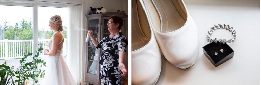 Tanten til Siri sprayer håret, og ved siden av er et detaljebilde av sko og øredobber.