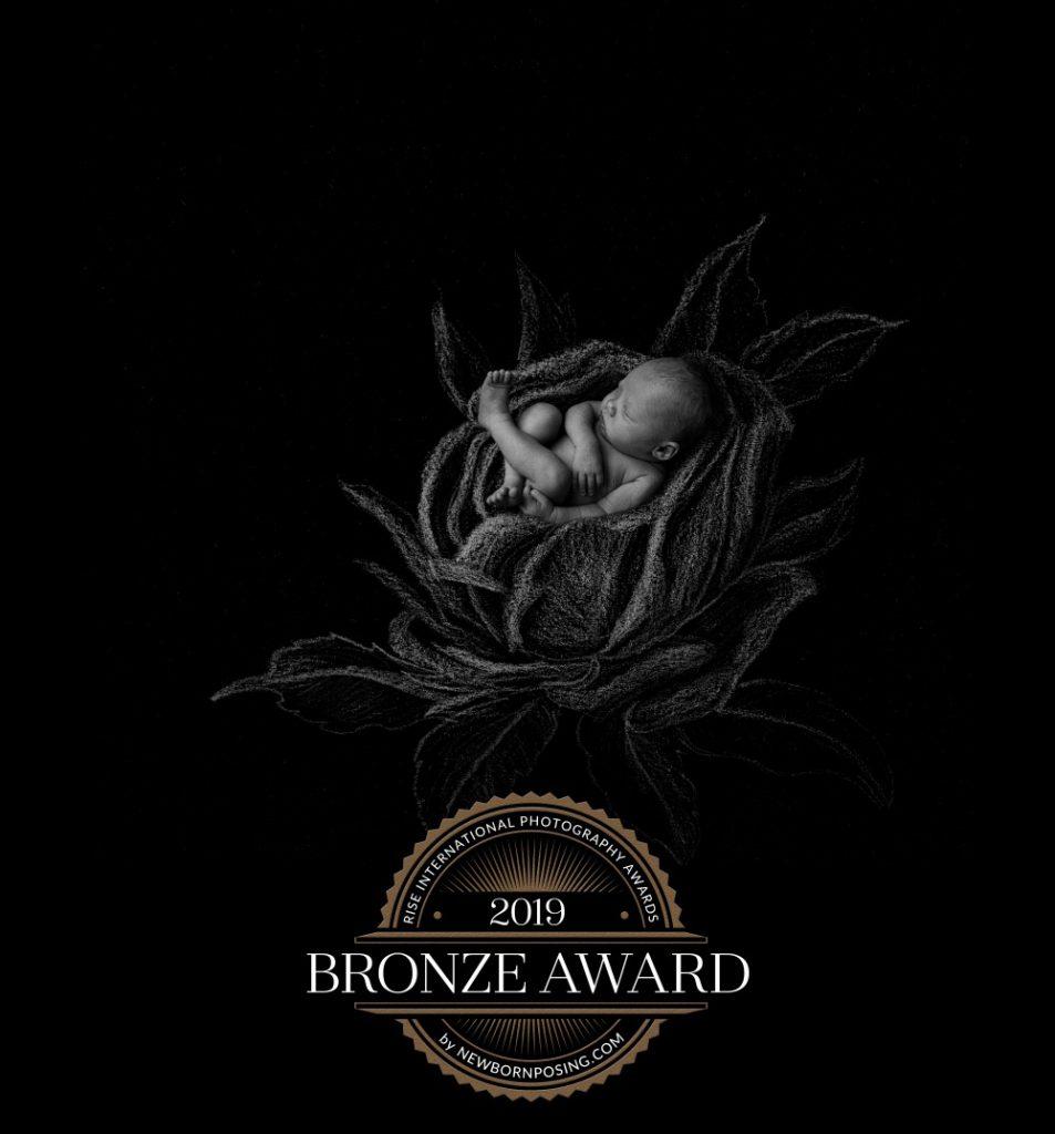 Baby i tegnet rose. Kompositt mellom fotografi og tegning. Fikk bronse i Rise Awards.