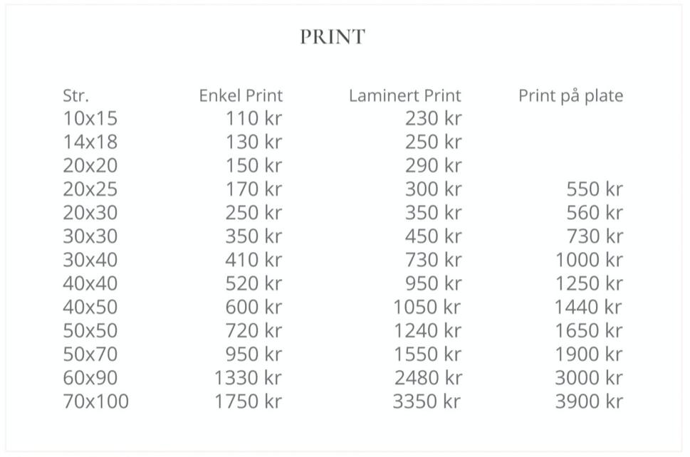 Priser for de forskjellige typene print. Gode ideer til julegaver.