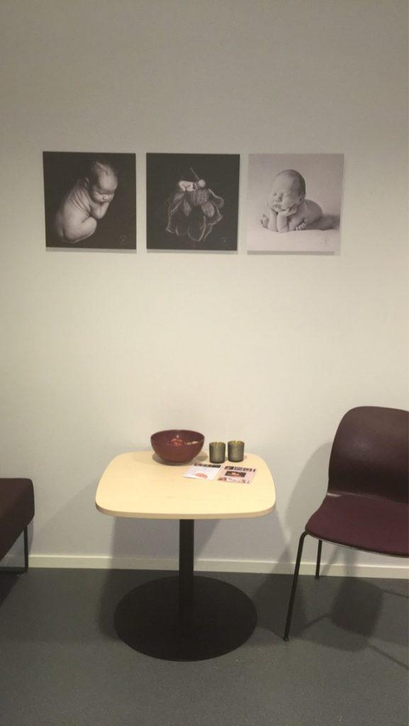 Bildene på veggen, etter samarbeid med jordmor.