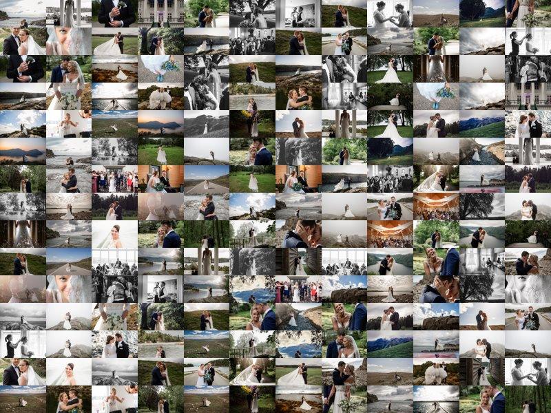En collage som viser mange av bryllupsbildene til Lene fra 2019.